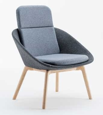 Dishy Lounge Chair With High Back And Solid Wooden Legs