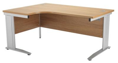 Riva Plus Left Hand Order Desk Oak And Silver
