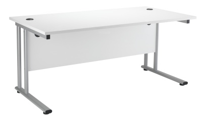 Velocity Rectangular Desk In White With A Silver Frame