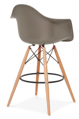 Eames DAW High Stool Rear Angle Mid Grey Seat