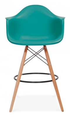 Eames DAW High Stool With Teal Seat Frnt View