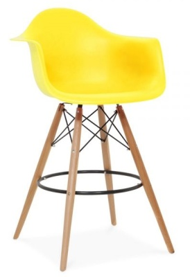 Eames DAW High Hstool With A Yellow Seat Front Angle
