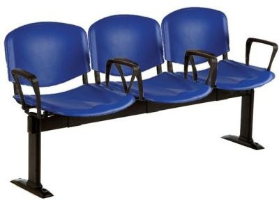 Tommy Canteen Seating In Dark Blue Molded Polymer Seats With Arm Rests And Floor Fixing Feet