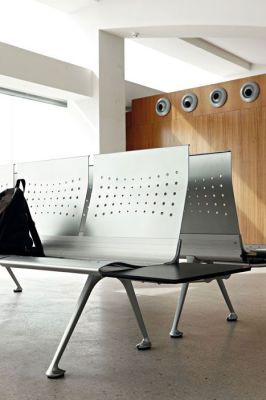 Transition Beam Seating In Reception Area With Shaped Perforated Back Rests