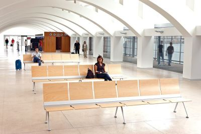 Commercial Waiting Area Using Trastion Beam Seating With Wooden Seats