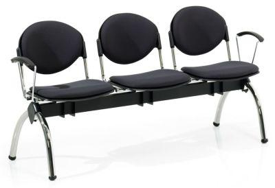 Bradley 3 Chair Beam With Designer Arch Chrome Legs