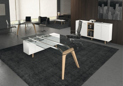 Gravity Glass Desk And Credenza