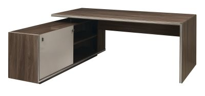 Vermont Execitive Desk In Walnut With Side Cupboard