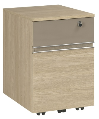 Vermont Two Drawer Mobile Pedestal In Bleached Oak