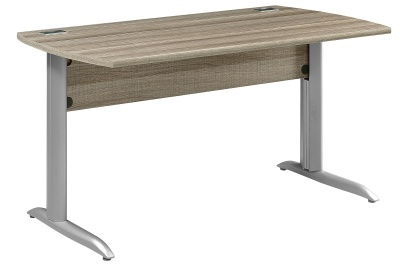 Jazz Rectangular Desk In A Drift Oalk Finish With Metal Legs In Silver