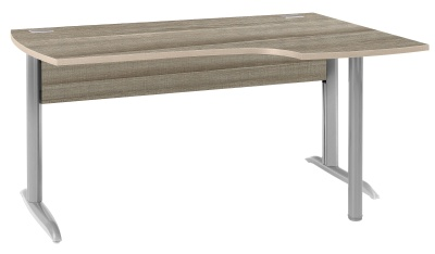 Jazz Corner Desk With A Drift Finish Andm Metal Legs In A Silver Finish