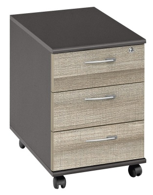Jazz Three Drawer Mobile Pedestal With Drift Oak Fronts