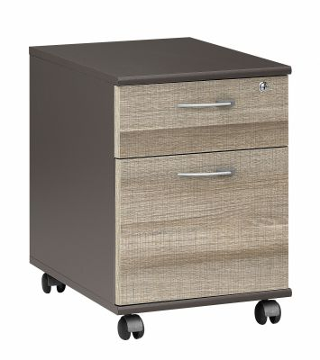 Jazz Two Drawer Mobile Pedestal With Drift Oak Fronts