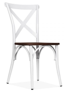 Crossback Chair In White Front Angle