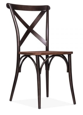 Cross Back Steel Dining Chair Front Angle