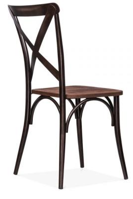 Cross Back Steel Chair Rear Angle