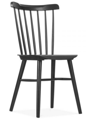 Eton Wooden Chair In Black Front Angle