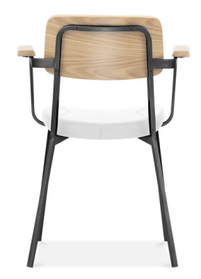Rica Wooden Dining Armchair With A Black Frame And White Faux Leather Seat Rear View