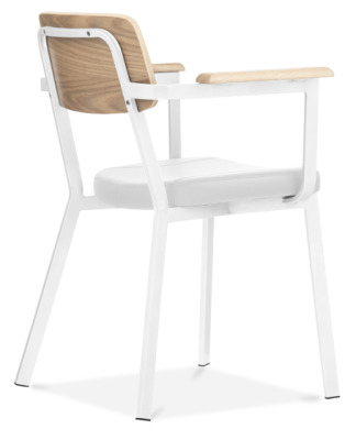 Rica Dining Arm Chair With A White Frame Nad White Faux Leather Seat Rear Angle