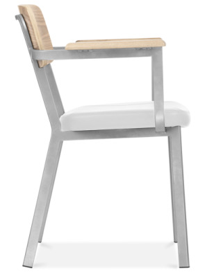 Rica Ramchair With A Grey Frame And White Faux Leather Seat Side View