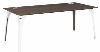 Xenon Executive Desk With A Dark Oak Top And Metal Legs