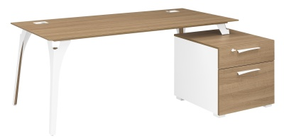 Xenon Executive Desk With Metal Legs And Supporting Pedestal