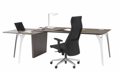 Xenon Executive Desk With Metal Legs And Square Return On The User Side