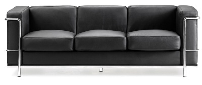 Black Leather Corbusier Three Seatar Facing