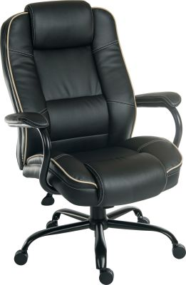 Goliato Chair Black Leather Front Angle