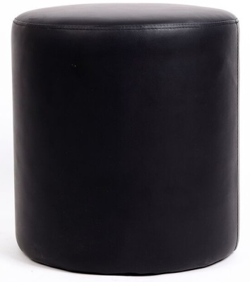Leicester Black Leather Round Stool