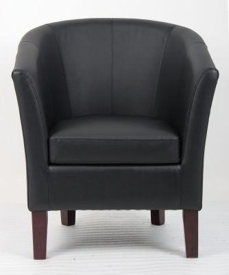 Leicester Black Leather Tub Chair Face Shot