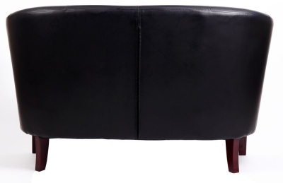 Leicester Black Leather Two Seater Sofa Rear Shot
