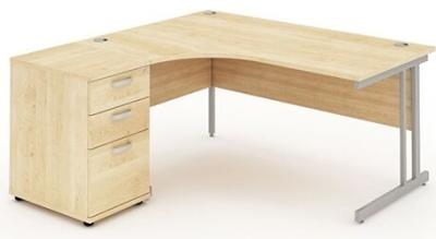 Revolution Left Hand Corner Desk And Pedestal In Maple