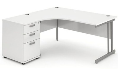 Revolution Left Hand Corner Desk And Pedestal In White