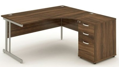 Revolution Corner Desk And Desk Height Pedestal In Walnut