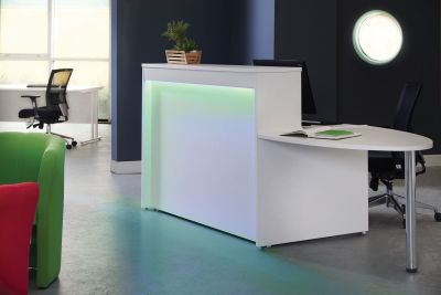 GM Reception Desk Green Lighting And Extension Desk