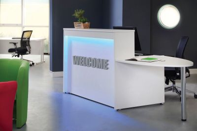 GM Reception Desk With Blue Lighting And Extension Desk