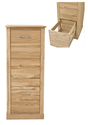 Warwick Solid Oak Three Drawer Filing Cabinet