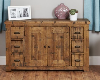 Hatfield Six Drawer Rough Sawn Oak Sideboard 1