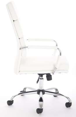 Evoque White Leather Executive Chair Side Angle
