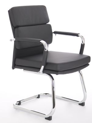 Evoque Visitors Chair In Black Leather Front Angle