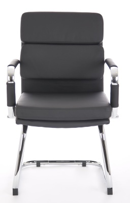 Evoque Black Leather Visitors Chairs Front Angle