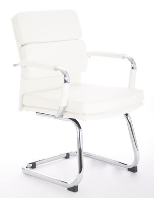Evoque White Leather Visitors Chair Angle Shot