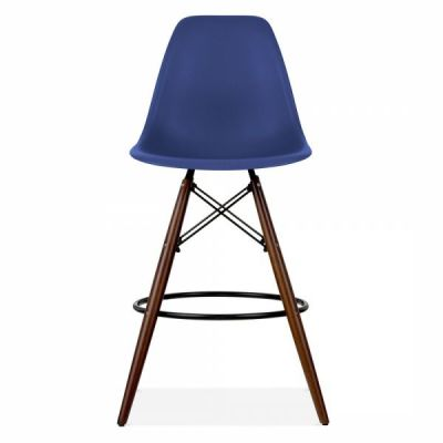 Eames Inspired DSW Stool With Walnut Legs And Navy Blue Seat Front Shot