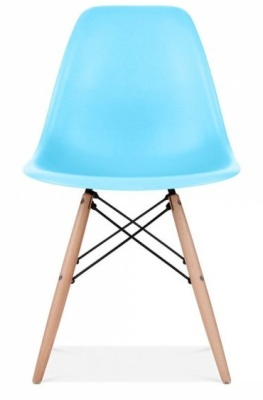 Eames Inspired DSW Chair Light Blue Shell Front Shot
