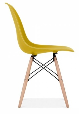 Eames Inspired DSW Chair With An Olive Green Seat Side View