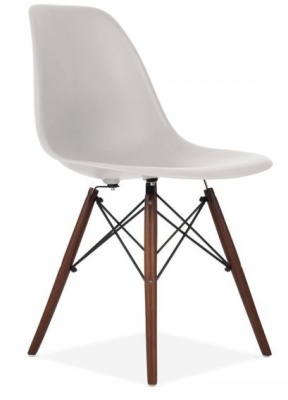 Eames Inspired Dsw Chair With A Light Grey Shell And Walnut Legs Front Angle