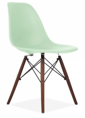 Eames Inspired DSW Chair With A Peppermint Green Shell And Walnut Legs