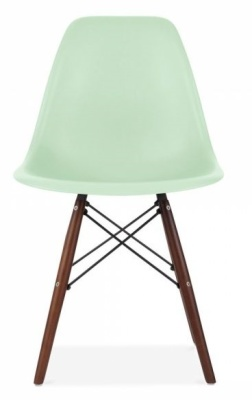 Eames Inspitred DSW Chair With Walnut Legs And Peppermint Green Seat Front View
