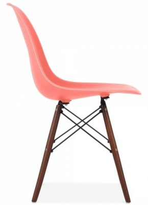 Eames Inspired DSW Chair With A Blush Pink Seat And Walnut Legs Side View